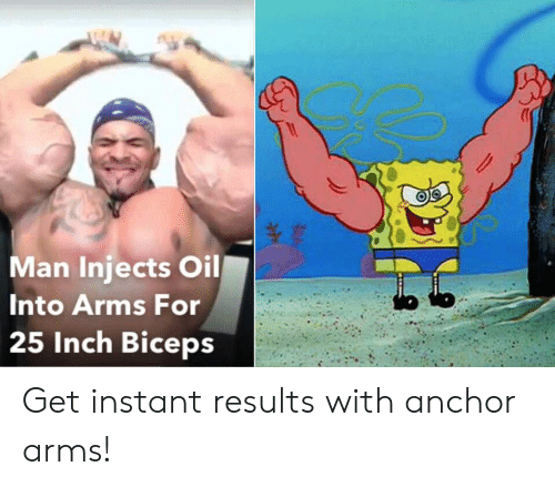 inch: Man Injects Oil  Into Arms For  25 Inch Biceps Get instant results with anchor arms!