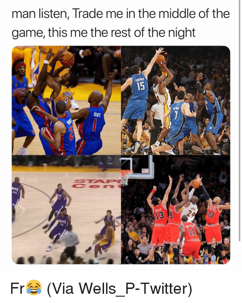 Basketball, Nba, and Sports: man listen, Trade me in the middle of the  game, this me the rest of the night  15  24 Fr😂 (Via ‪Wells_P-Twitter)