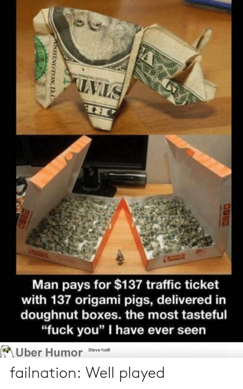 """Origami: Man pays for $137 traffic ticket  with 137 origami pigs, delivered in  doughnut boxes. the most tasteful  """"fuck you"""" I have ever seen  Uber Humor steveno failnation:  Well played"""