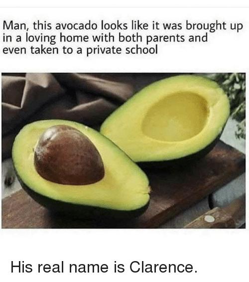 Memes, Parents, and School: Man, this avocado looks like it was brought up  in a loving home with both parents and  even taken to a private school His real name is Clarence.