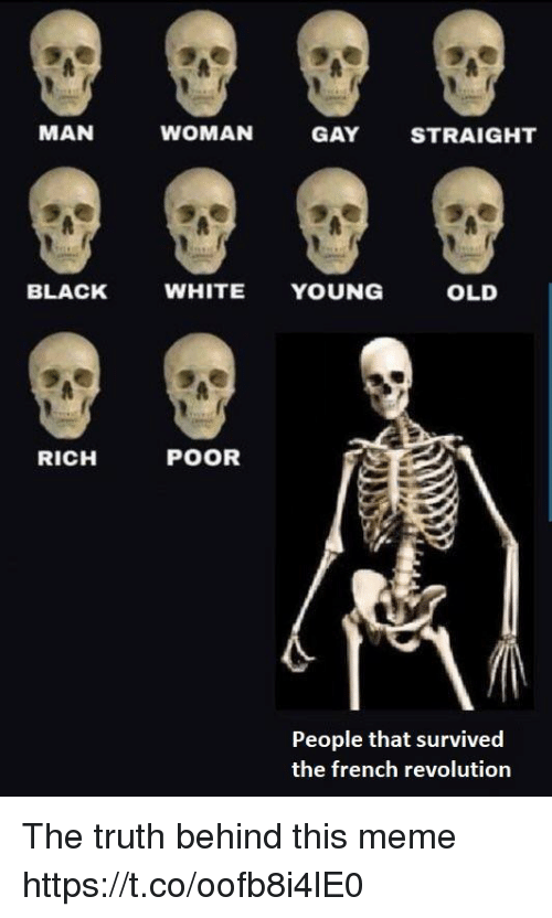 Meme, Black, and Revolution: MAN  WOMAN  GAY  STRAIGHT  BLACK  WHITE YOUNG  OLD  RICH  POOR  People that survived  the french revolution The truth behind this meme https://t.co/oofb8i4lE0