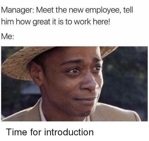 Work, Time, and How: Manager: Meet the new employee, tell  him how great it is to work here!  Me: Time for introduction
