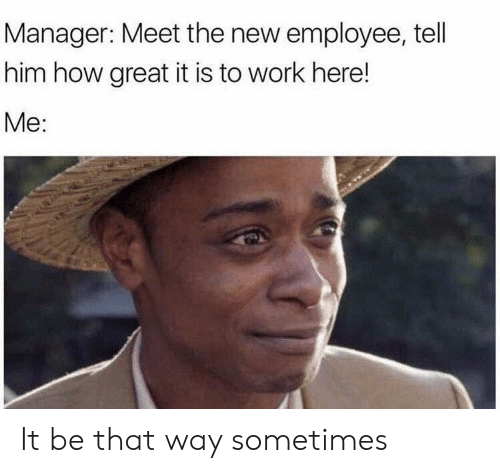 Work, How, and Him: Manager: Meet the new employee, tell  him how great it is to work here!  Me: It be that way sometimes