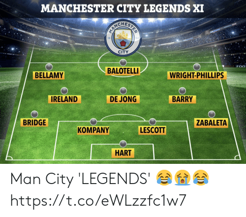 Jong: MANCHESTER CITY LEGENDS XI  CITY  MORTLE F 0  BALOTELLI  BELLAMY  WRIGHT-PHILLIPS  IRELAND  DE JONG  BARRY  BRIDGE  ZABALETA  LESCOTT  KOMPANY  HART Man City 'LEGENDS' 😂😭😂 https://t.co/eWLzzfc1w7