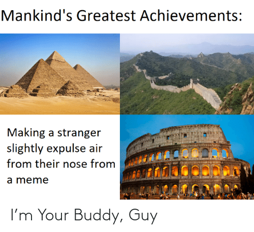 stranger: Mankind's Greatest Achievements:  Making a stranger  slightly expulse air  from their nose from  a meme I'm Your Buddy, Guy