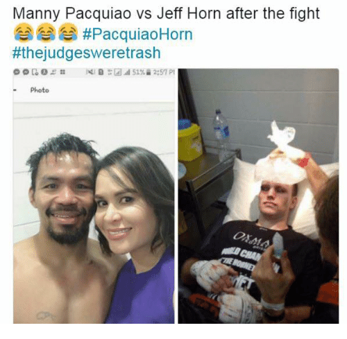 manny pacquiao: Manny Pacquiao vs Jeff Horn after the fight  A, AS, #PacquiaoHorn  #thejudgesweretrash  Photo