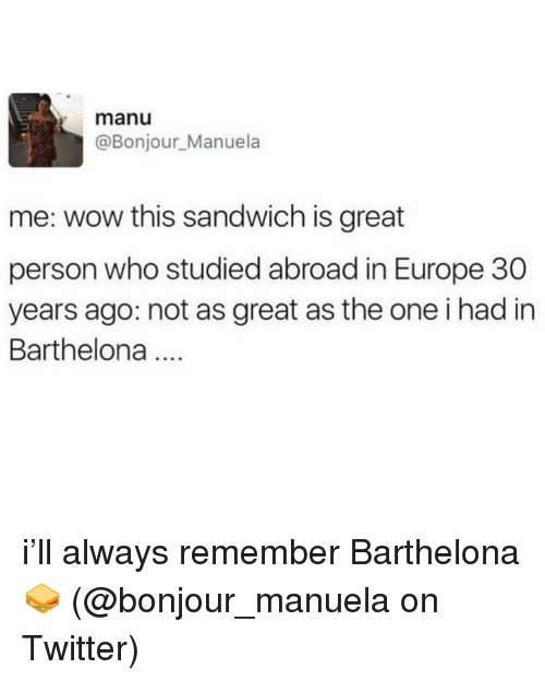 Memes, Twitter, and Wow: manu  @Bonjour_Manuela  me: wow this sandwich is great  person who studied abroad in Europe 30  years ago: not as great as the one i had in  Barthelona i'll always remember Barthelona 🥪 (@bonjour_manuela on Twitter)