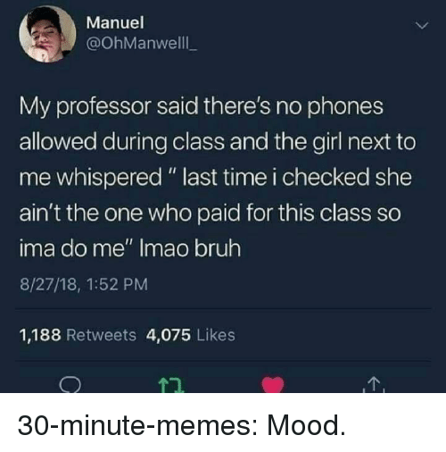 "Bruh, Memes, and Mood: Manuel  @OhManwelll  My professor said there's no phones  allowed during class and the girl next to  me whispered "" last time i checked she  ain't the one who paid for this class so  ima do me"" Imao bruh  8/27/18, 1:52 PM  1,188 Retweets 4,075 Likes 30-minute-memes:  Mood."