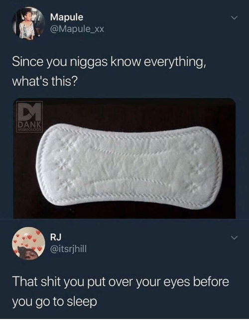 Dank, Go to Sleep, and Shit: Mapule  @Mapule xx  Since you niggas know everything,  what's this?  DANK  MEMEOLOGY  RJ  @itsrjhill  That shit you put over your eyes before  you go to sleep