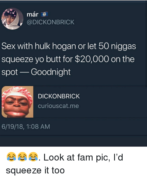 Butt, Fam, and Funny: mar  @DICKONBRICK  Sex with hulk hogan or let 50 niggas  squeeze yo butt for $20,000 on the  spot Goodnight  DICKONBRICK  curiouscat.me  6/19/18, 1:08 AM 😂😂😂. Look at fam pic, I'd squeeze it too