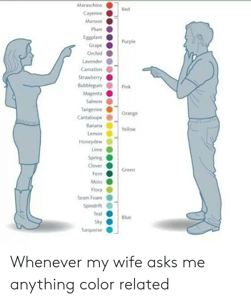 grape: Maraschino  Red  Cayenne  Maroon  Plum  Eggplant  Purple  Grape  Orchid  Lavender  Carnation  Strawberry  Bubblegum  Pink  Magenta  Salmon  Tangerine  Cantaloupe  Orange  Banana  Yellow  Lemon  Honeydew  Lime  Spring  Clover  Green  Fern  Moss  Flora  Seam Foam  Spindrift  Teal  Blue  Sky  Turquolse Whenever my wife asks me anything color related