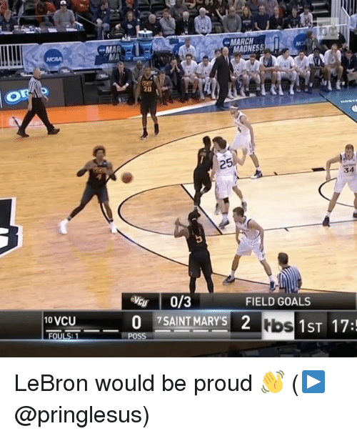 Sports, Vcu, and Tbs: MARCH  MAR  20  25  34  0/3  FIELD GOALS  10 VCU  0 SAINT MARY'S 2  tbs  1 ST 17:  OULS LeBron would be proud 👋 (▶️ @pringlesus)