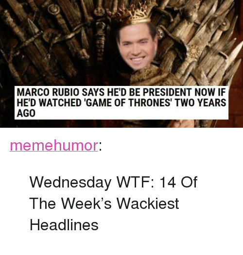 """Game of Thrones, Tumblr, and Wtf: MARCO RUBIO SAYS HE'D BE PRESIDENT NOW IF  HE'D WATCHED 'GAME OF THRONES' TWO YEARS  AGO <p><a href=""""http://memehumor.net/post/166089093066/wednesday-wtf-14-of-the-weeks-wackiest-headlines"""" class=""""tumblr_blog"""">memehumor</a>:</p>  <blockquote><p>Wednesday WTF: 14 Of The Week's Wackiest Headlines</p></blockquote>"""