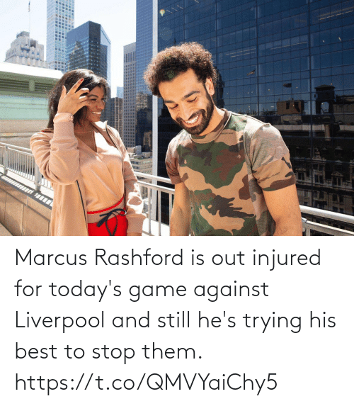 Trying: Marcus Rashford is out injured for today's game against Liverpool and still he's trying his best to stop them. https://t.co/QMVYaiChy5