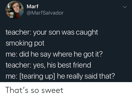 Best Friend, Smoking, and Teacher: Marf  @MarfSalvador  teacher: your son was caught  smoking pot  me: did he say where he got it?  teacher: yes, his best friend  me: [tearing up] he really said that? That's so sweet