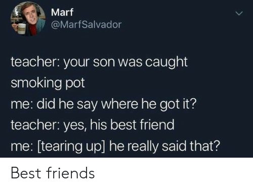 Best Friend, Friends, and Smoking: Marf  @MarfSalvador  teacher: your son was caught  smoking pot  me: did he say where he got it?  teacher: yes, his best friend  me: [tearing up] he really said that? Best friends