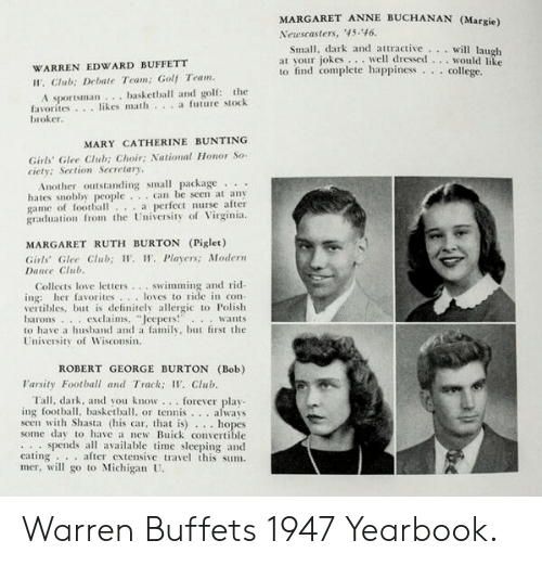 "Basketball, Club, and College: MARGARET ANNE BUCHANAN (Margie)  Newscasters, '45-46  Small, dark and attractive will laugh  jokes.well dressed... would lite  at vour  to find complete happinessi  WARREN EDWARD BUFFETT  college.  .  W. Club; Debate Team; Golf Team.  A sportsman.. basketball and golf: the  favorites. .likes math a future stock  broker  MARY CATHERINE BUNTING  Girls' Glee Club; Choir; National Honor So-  ciety: Section Secretary  Another outstanding small package  hates snobby people  game of football..a perfect nurse after  graduation from the University of Virginia.  . can be seen at any  MARGARET RUTH BURTON (Piglet)  Girls Glee Ctub; W. W. Players; Modern  Dance Club.  Collects love letters...swimming and rid  ing: her favorites... loves to ride in con-  vertibles, but is definitely allergic to Polish  barons exclaims, ""Jeepers! wants  to have a husband and a family, but first the  University of Wisconsin  ROBERT GEORGE BURTON (Bob)  larsity Football and Track; W. Club  Tall, dark, and you know ...forever play  ing football, basketball, or tennis. ..always  seen with Shasta (his car, that is)  Some day to have a new Buick convertible  spends all available time sleeping and  eating  mer, will go to Michigan U  hopes  ..after extensive travel this sum. Warren Buffets 1947 Yearbook."