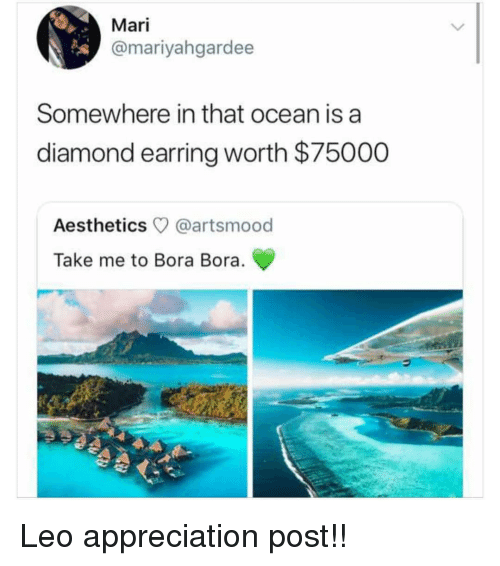 Memes, Diamond, and Ocean: Mari  @mariyahgardee  Somewhere in that ocean is a  diamond earring worth $75000  Aesthetics @artsmood  Take me to Bora Bora. Leo appreciation post!!
