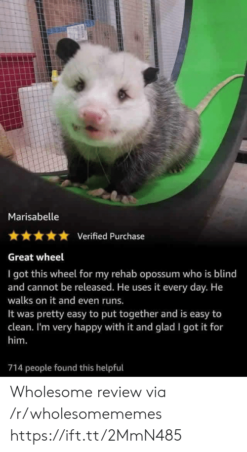 Happy, Wholesome, and I Got It: Marisabelle  Verified Purchase  Great wheel  I got this wheel for my rehab opossum who is blind  and cannot be released. He uses it every day. He  walks on it and even runs.  pretty easy to put together and is easy to  clean. I'm very happy with it and glad I got it for  It was  him.  714 people found this helpful Wholesome review via /r/wholesomememes https://ift.tt/2MmN485