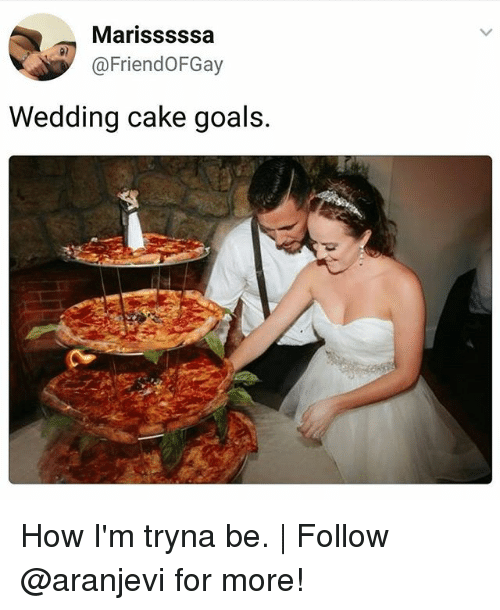Goals, Memes, and Cake: Marisssssa  @FriendOFGay  p)  Wedding cake goals. How I'm tryna be. | Follow @aranjevi for more!