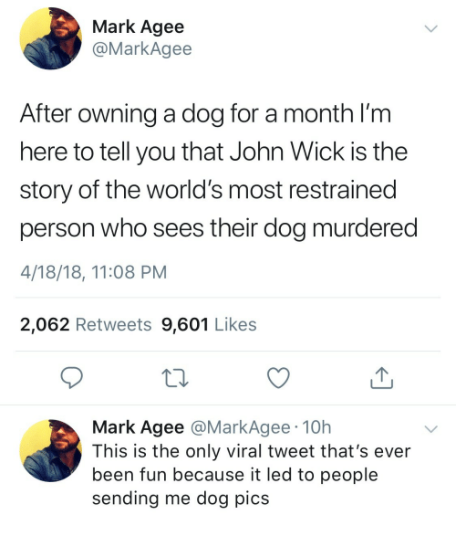 Restrained: Mark Agee  @MarkAgee  After owning a dog for a month I'm  here to tell you that John Wick is the  story of the world's most restrained  person who sees their dog murdered  4/18/18, 11:08 PM  2,062 Retweets 9,601 Likes  Mark Agee @MarkAgee 10h  This is the only viral tweet that's ever  been fun because it led to people  sending me dog pics