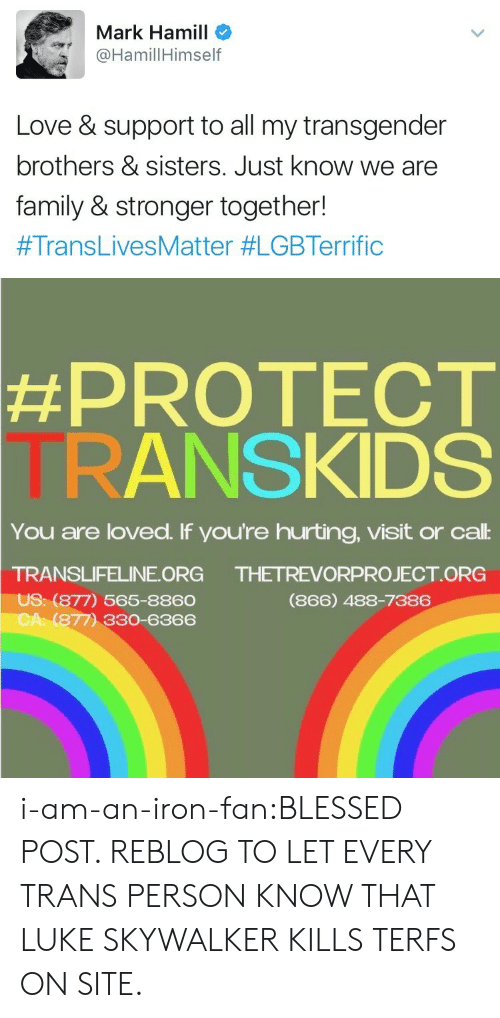 brothers sisters: Mark Hamill  HamillHimself  Love & support to all my transgender  brothers & sisters. Just know we are  family & stronger together!  #TransLivesMatter #LGBTerrific   #PROTECT  TRANSKIDS  You are loved. If you're hurting, visit or cal:  TRANSLIFELINE ORG  US: (877) 565-8860  CA: (877) 330-6366  THETREVORPROJECT ORG  (866) 488-7386 i-am-an-iron-fan:BLESSED POST. REBLOG TO LET EVERY TRANS PERSON KNOW THAT LUKE SKYWALKER KILLS TERFS ON SITE.