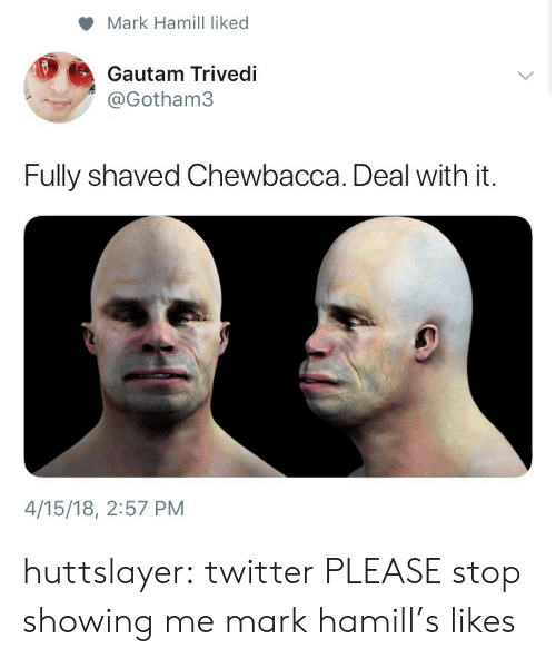 Chewbacca, Mark Hamill, and Tumblr: Mark Hamill liked  Gautam Trivedi  @Gotham3  Fully shaved Chewbacca. Deal with it.  4/15/18, 2:57 PM huttslayer:  twitter PLEASE stop showing me mark hamill's likes
