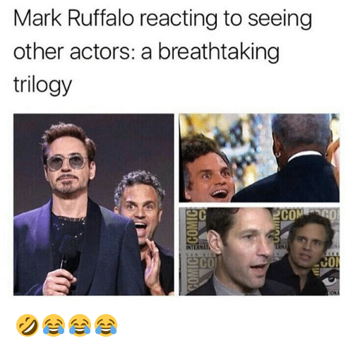 Mark Ruffalo, Girl Memes, and Eco: Mark Ruffalo reacting to seeing  other actors: a breathtaking  trilogy  CON  INTERNA  eco  co 🤣😂😂😂