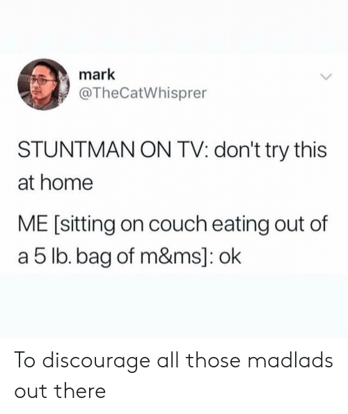 discourage: mark  @TheCatWhisprer  STUNTMAN ON TV: don't try this  at home  ME [sitting on couch eating out of  a 5 lb. bag of m&ms]: ok To discourage all those madlads out there