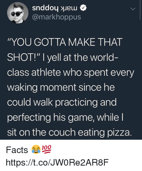"""Facts, Pizza, and Couch: @markhoppus  """"YOU GOTTA MAKE THAT  SHOT!"""" I yell at the world-  class athlete who spent every  waking moment since he  could walk practicing and  perfecting his game, while l  sit on the couch eating pizza. Facts 😂💯 https://t.co/JW0Re2AR8F"""