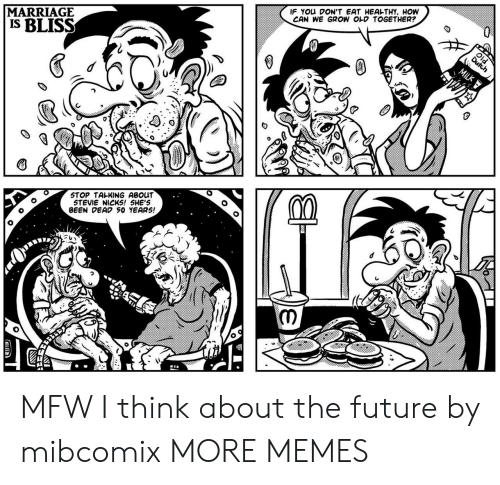 Stevie: MARRIAGE  IS BLISS  IF You DON'T EAT HEAL-THY, HOW  CAN WE GROW OLD TOGETHER?  STOP TALKING ABOUT  STEVIE NICKS! 5HE'S  BEEN DEAD 50 YEAR5! MFW I think about the future by mibcomix MORE MEMES