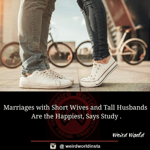 Memes, Weird, and World: Marriages with Short Wives and Tall Husbands  Are the Happiest, Says Study.  Weird World  @ weirdworldinsta