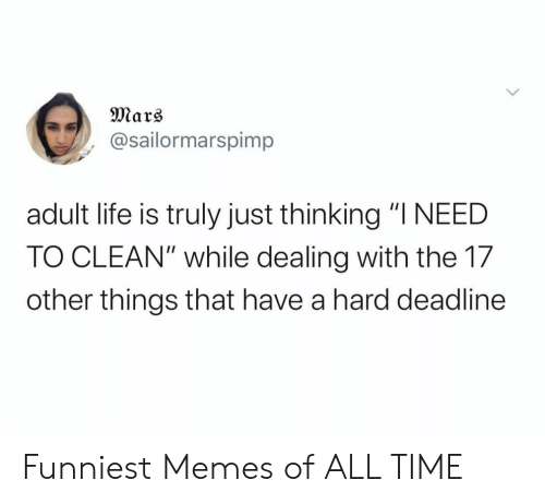 "funniest memes: Mars  @sailormarspimp  adult life is truly just thinking ""I NEED  TO CLEAN"" while dealing with the 17  other things that have a hard deadline Funniest Memes of ALL TIME"