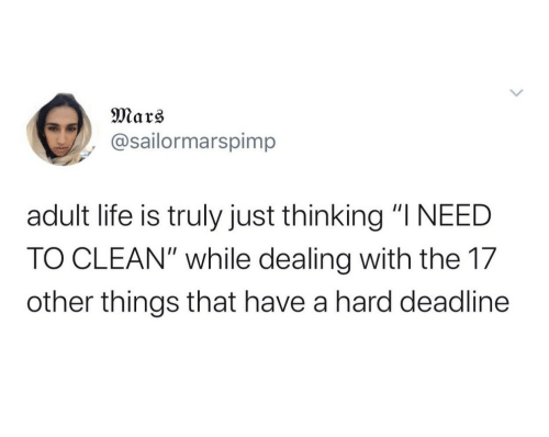 "Life, Mars, and Adult: Mars  @sailormarspimp  adult life is truly just thinking ""I NEED  TO CLEAN"" while dealing with the 17  other things that have a hard deadline"