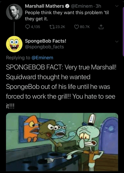 Squidward: Marshall Mathers  @Eminem 3h  People think they want this problem 'til  they get it.  4,135  t23.2K  80.7K  SpongeBob Facts!  @spongbob_facts  Replying to @Eminem  SPONGEBOB FACT: Very true Marshall!  Squidward thought he wanted  SpongeBob out of his life until he was  forced to work the gril!! You hate to see  it!!