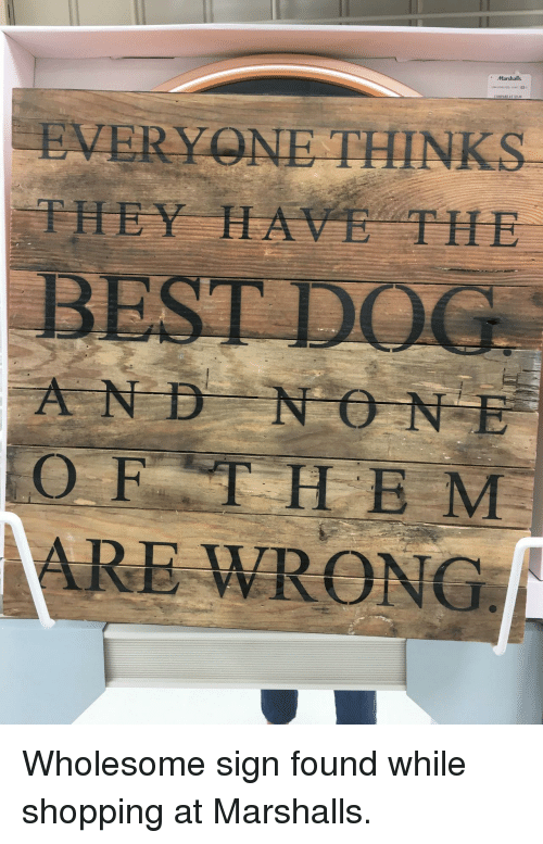 Shopping, Wholesome, and They: Marshalls  EVERY NE THINKS  THEY HAVE THE  AND NO NE  OFTHE M  ARE WRONG <p>Wholesome sign found while shopping at Marshalls.</p>
