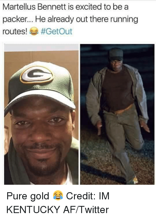 martellus bennett: Martellus Bennett is excited to be a  packer... He already out there running  routes!  #Get Out Pure gold 😂 Credit: IM KENTUCKY AF/Twitter