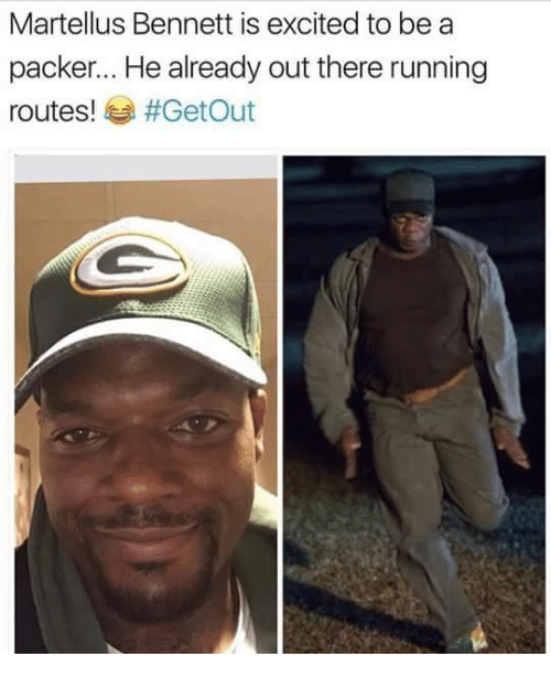 martellus bennett: Martellus Bennett is excited to be a  packer... He already out there running  routes!  #Get Out