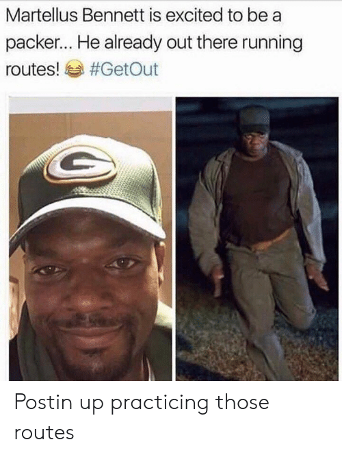 martellus bennett: Martellus Bennett is excited to be a  packer... He already out there running  routes! sa Postin up practicing those routes
