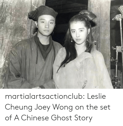 Tumblr, Blog, and Chinese: martialartsactionclub:  Leslie Cheung  Joey Wong on the set of A Chinese Ghost Story