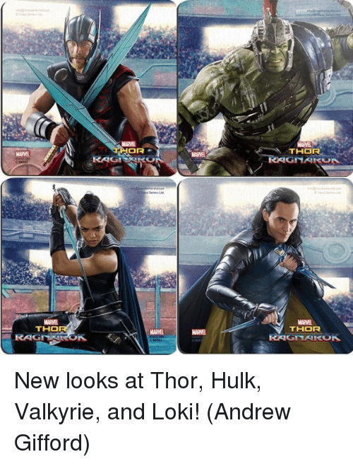 hulking: MARVE  THOR  MARVE  MARVA  MARVE  THO  THOR  MARVEL  MARVE  RAG New looks at Thor, Hulk, Valkyrie, and Loki!  (Andrew Gifford)
