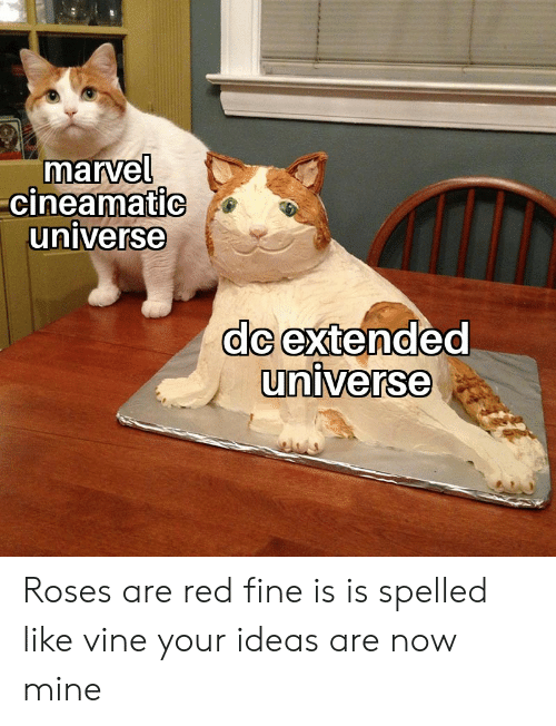 Vine, Marvel, and Dank Memes: marvel  cineamatic  universe  dc extended  universe Roses are red fine is is spelled like vine your ideas are now mine