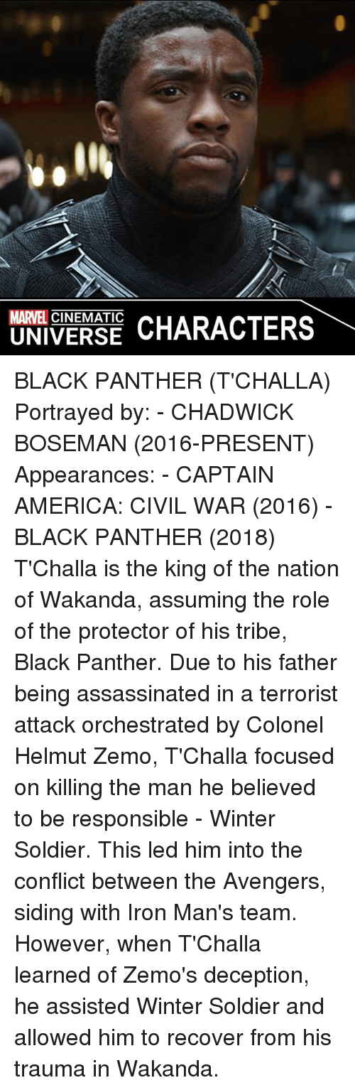 chadwicks: MARVEL CINEMATIC  CHARACTERS  UNIVERSE BLACK PANTHER (T'CHALLA)  Portrayed by: - CHADWICK BOSEMAN (2016-PRESENT)  Appearances: - CAPTAIN AMERICA: CIVIL WAR (2016) - BLACK PANTHER (2018)  T'Challa is the king of the nation of Wakanda, assuming the role of the protector of his tribe, Black Panther. Due to his father being assassinated in a terrorist attack orchestrated by Colonel Helmut Zemo, T'Challa focused on killing the man he believed to be responsible - Winter Soldier. This led him into the conflict between the Avengers, siding with Iron Man's team. However, when T'Challa learned of Zemo's deception, he assisted Winter Soldier and allowed him to recover from his trauma in Wakanda.