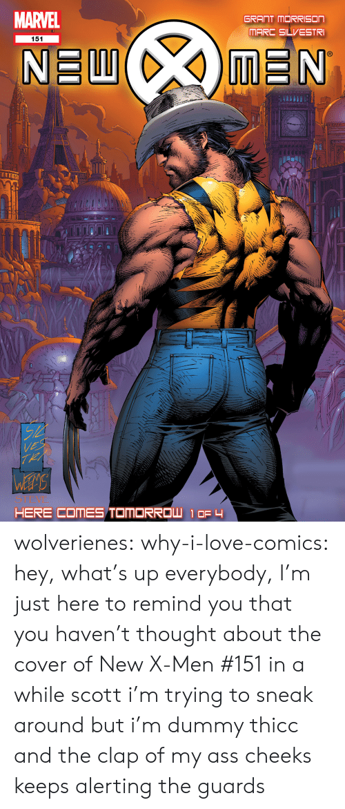 Ass, Love, and Tumblr: MARVEL  GRANT MORRISON  151  S T wolverienes: why-i-love-comics: hey, what's up everybody, I'm just here to remind you that you haven't thought about the cover of New X-Men #151 in a while scott i'm trying to sneak around but i'm dummy thicc and the clap of my ass cheeks keeps alerting the guards