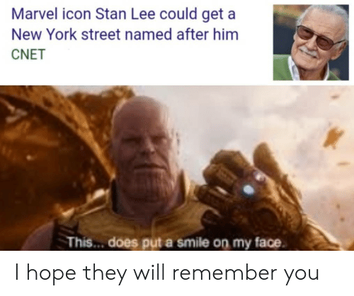 Stan Lee: Marvel icon Stan Lee could get a  New York street named after him  CNET  This... does put a smile on my face I hope they will remember you