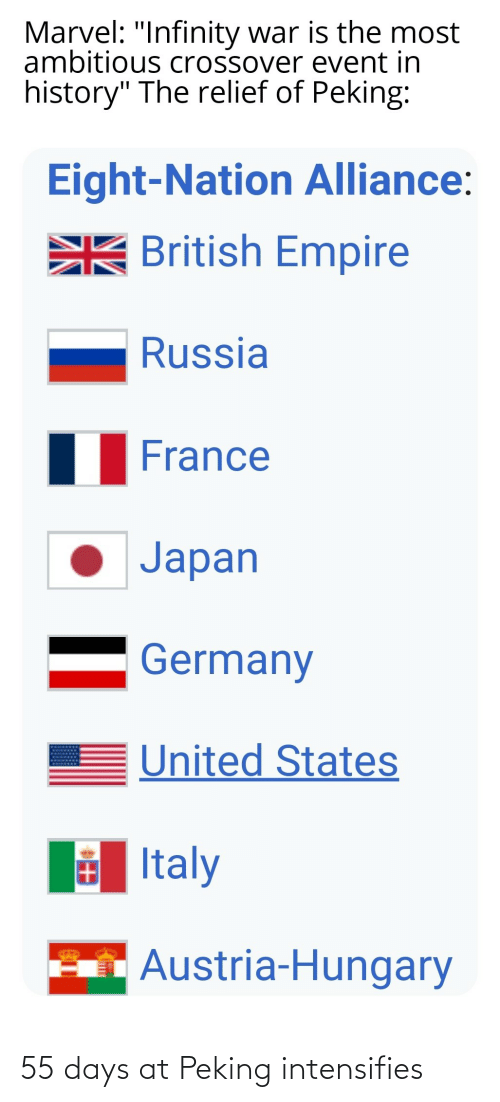 "Empire, France, and Germany: Marvel: ""Infinity war is the most  ambitious crossover event in  history"" The relief of Peking:  Eight-Nation Alliance:  EK British Empire  Russia  France  Japan  Germany  United States  E Italy  Austria-Hungary 55 days at Peking intensifies"