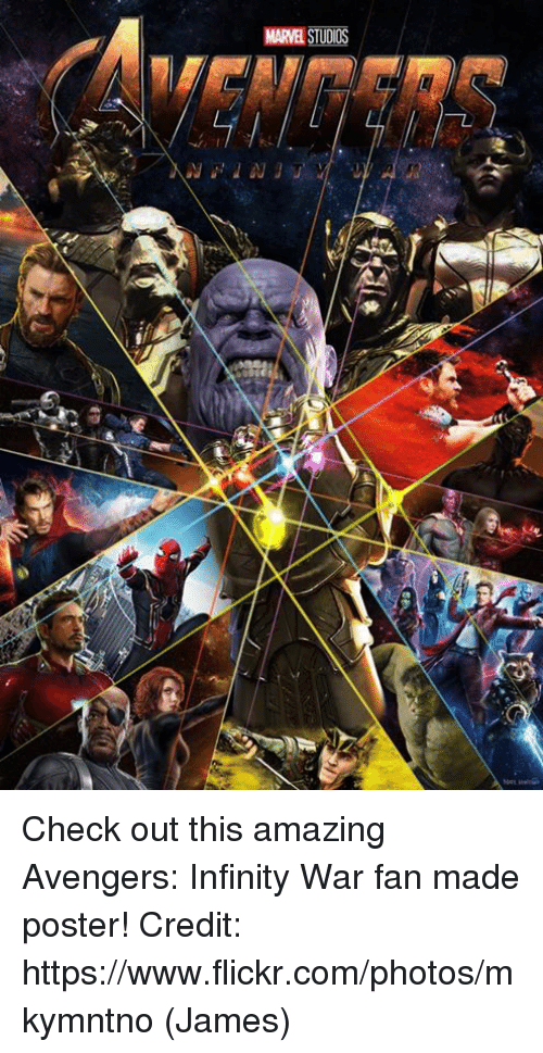 Memes, Avengers, and Flickr: MARVEL STUDIOS  Ji Check out this amazing Avengers: Infinity War fan made poster!  Credit: https://www.flickr.com/photos/mkymntno  (James)