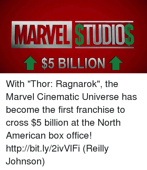"Memes, American, and Box Office: MARVEL T  TUDIO  $5 BILLION With ""Thor: Ragnarok"", the Marvel Cinematic Universe has become the first franchise to cross $5 billion at the North American box office! http://bit.ly/2ivVlFi  (Reilly Johnson)"