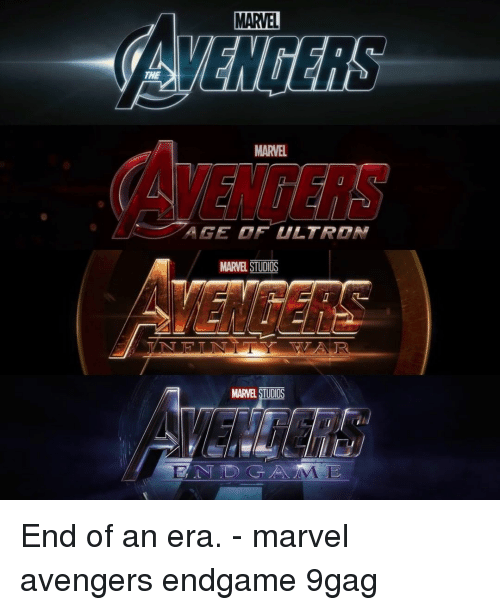 9gag, Memes, and Avengers: MARVEL  THE  AVENCERS  MARVEL  MARVEL STUDI  MARVEL STUDIOS End of an era.⠀ -⠀ marvel avengers endgame 9gag