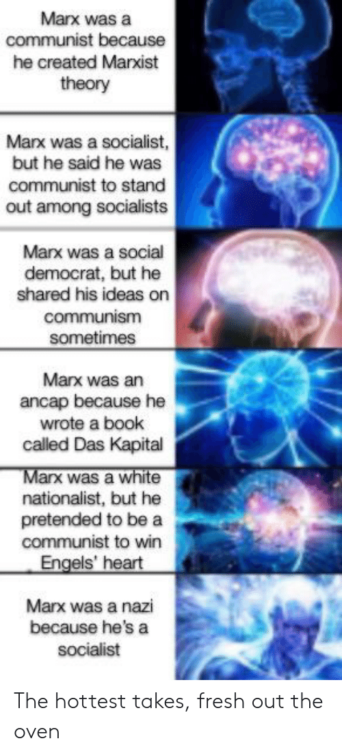 Fresh, Book, and Heart: Marx was a  communist because  he created Marxist  theory  Marx was a socialist,  but he said he was  communist to stand  out among socialists  Marx was a social  democrat, but he  shared his ideas on  communism  sometimes  Marx was an  ancap because he  wrote a book  called Das Kapital  Marx was a white  nationalist, but he  pretended to be a  communist to win  Engels' heart  Marx was a nazi  because he's a  socialist The hottest takes, fresh out the oven